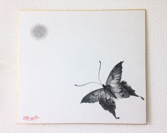 Moon series batterfly / Sumie Japanese ink painting