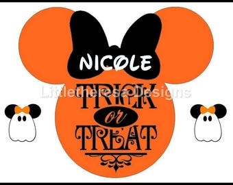 Minnie Personalized Halloween Trick Or Treat Head  Iron On Transfer