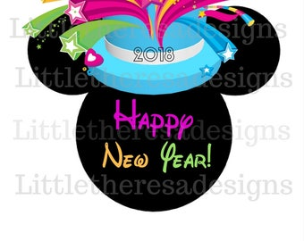 Mickey Mouse Pastel New Year Top Hat  Transfer,Digital Transfer,Digital Iron On,Diy