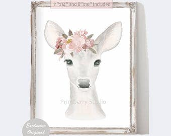 Woodland Nursery Decor, Deer Wall Art,  Girl Nursery Art, Deer Watercolor Printable, Woodland Animals, Pink and Gray Nursery Decor