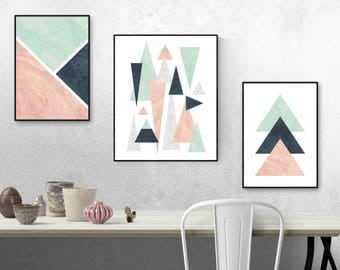 Bon Geometric Wall Art, Triangle Wall Prints, Pink, Mint And Blue Shapes, Wall