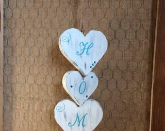 """Wooden Hearts """"Home"""" Door/Wall Hanger"""