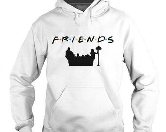 Friends TV Show Logo w/Cast and Couch Silhouette Available In Sweatshirt or Hoodie
