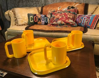 1960's Bright Yellow Stackable Camping Set