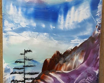 encaustic wax painting picture was spiritual mountain