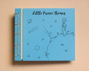 Personalized Kid's Photo Album Handmade Scrapbook, Birthday Boy, Little Prince Drawing