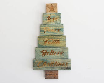 Engraved Pallet Wood Sign - Love Peace Faith Believe Christmas Tree | Gift | Holidays | Home Decor | Rustic | Wall Hanging | Recycled