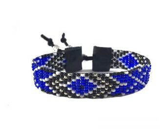 Native American Bead Bracelet - Beadwoven Glass Seed Bead Bracelet - Bead Loom - Adjustable Bracelet - Bridesmaid Gift -