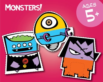 Monsters! - Cut and Paste Craft for Kindergarten Kids (Download)