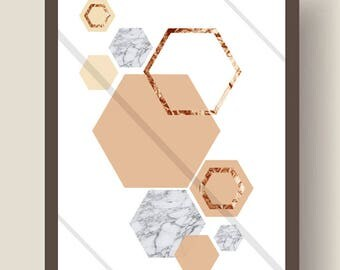 Gold Shimmer, Marble and Peach Hexagon Obsession Wall Art Print