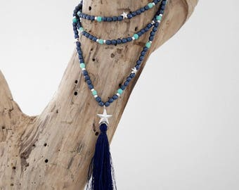 Chic bohemian necklace blue, turquoise, green and silver in pearls with tassel (SAUT13)