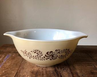 Vintage PYREX Brown Homestead 1-1/2 QT Cinderella Mixing Bowl 442