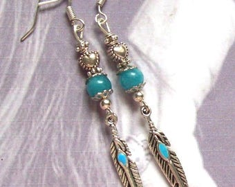 Earrings silver metal Tibetan quartz blue feathers - trade price!