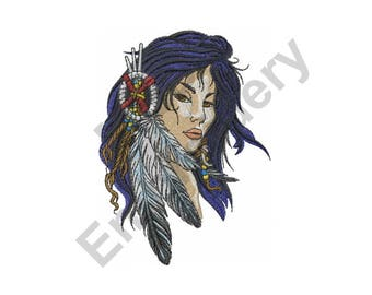 American Indian Woman - Machine Embroidery Design