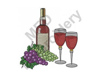 Wine And Grapes - Machine Embroidery Design