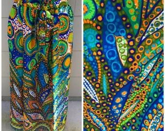 Vintage Psychedelic Neon Groovy Op Art Hippie Maxi Long Skirt 60s 70s
