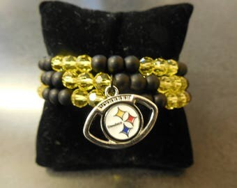 Pittsburgh Steelers Black and Gold Beaded Memory Wire Charm Bracelet