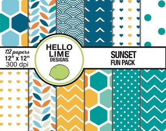 Commercial Use Teal and Orange Digital Scrapbook Paper - Sunset Fun Pack - Printable Pattern Paper Downloadable