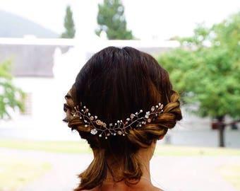 Bridal Hair Vine, Swarovski Crystal Hair Vine, Rose Gold Hair Vine, Wedding Jewelry, Crystal Hair Jewelry, Crystal Hair Wreath, Hair Wreath