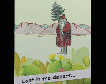 Senile Santa Lost in the Desert, Handmade Southwest Birthday Card by MeMeCards