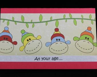 Sock Monkey Birthday Card, Handmade Silly Monkey Business Birthday Card by MeMeCards