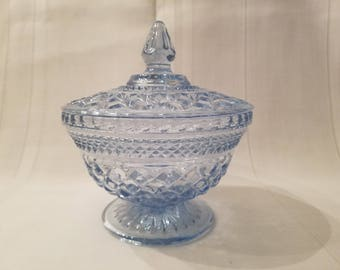 Vintage Blue Glass Covered Pedestal Candy Dish