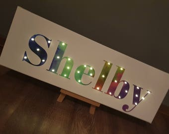 Light Up Name, Lighted Name Sign, Rainbow Wall Art, Light Up Letters For