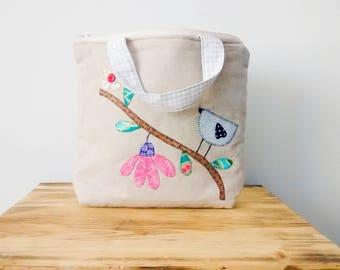 Small girl handbag, Girls bag, Small girls tote bag, Small bag, Beige bag, Patchwork bag, Cute Bag