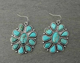 Squash Blossom Natural Turquoise Earring E004