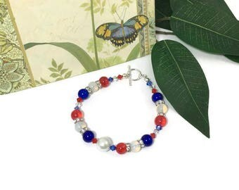 Patriotic Bracelet, 7 in, Fashion Accessories, Beaded Jewelry, Beaded Bracelet, Moonstone, Crystal, Red, White, Blue Swarovski Elements, Fun