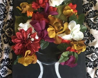 Made to Order Mixed Media 3D Painting with Flowers Handmade