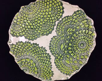 Two tone green lace dish