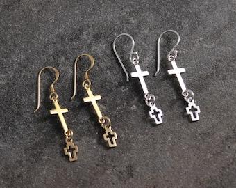Cross Earrings, Gold Earrings, Dainty Earrings, Minimalist Earrings, 24kt Gold Plated Earrings, Tiny Earrings, Boho Earrings