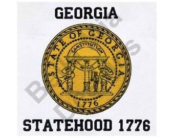 State Seal - Machine Embroidery Design, Georgia State Seal, Georgia Statehood 1776