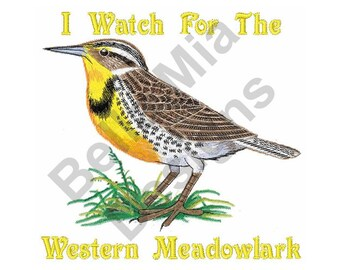 Bird   Machine Embroidery Design, Lark, I Watch For The Western Meadowlark