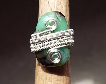 Freeform Jade Ring - UK size N / US size 7