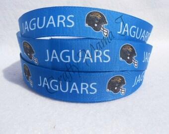 """Jacksonville Jaguars NFL Football Team 7/8"""" Grosgrain Ribbon by the yard. Choose between  3/5/10 yards."""