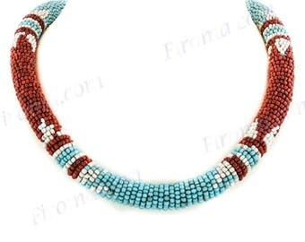 Collar Necklace Ethnic Style Turquoise Brown Beige Handmade Seed Beads