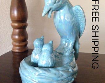 "Vintage Bird Figurine Home Decor, 5.5"" tall, Blue Bird Statue"