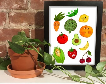Hangry Fruits and Vegetables 8x10 Print