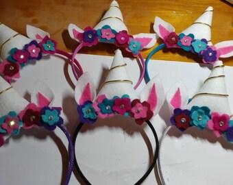 Handmade Unicorn Headbands set of 6