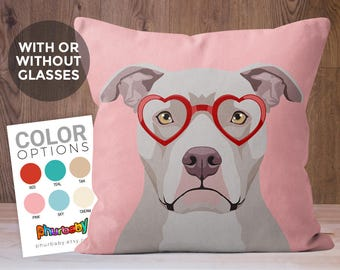 Pitbull Pillow | Fiancé Gift | Pet Loss Gift | Pet Pillow | Wife Gift | Dog Accent Pillow | Coworker Gift | Gift For Dog Owner | Dog Art