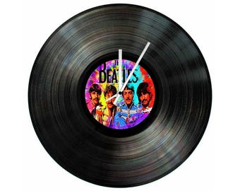 The Beatles Psychedelic Vinyl Clock 12 inch