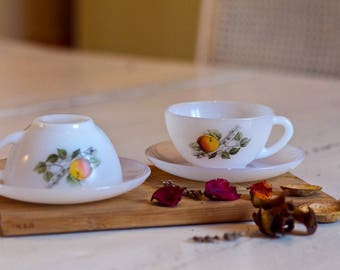 Espresso cups Arcopal France Cup arcopal coffee cup and saucer Arcopale, 1960's