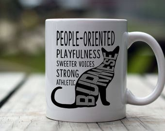 Burmese Cat Mug, Burmese Coffee Mug - Silhouette Behavior - 11 oz - Coffee Cat Mug - Cat Lovers Gift Mug, Cat Coffee Mug, Cute Cat Mugs