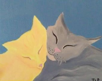 Sleeping Cats - Oil Painting