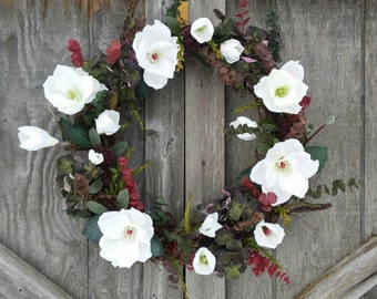 Magnolia Wreath/Eucalyptus/Hydrangea/Spring Wreath/Front Door Wreath/Porch Decor/Spring Decor/Farmhouse Decor/Rustic/Floral Decor/Gift Ideas