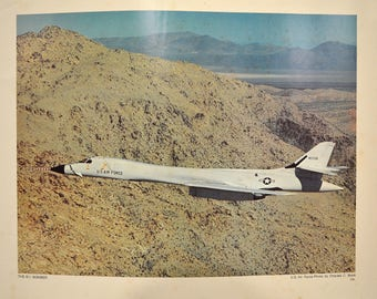 B-1 Bomber USAF Vintage Military Aviation Poster, Photo by Charles C Book, Lithograph Series, Bicentennial