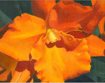 Original Orange Orchid Acrylic Painting