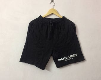 SALE ! Vintage MARIE CLAIRE sport short pants big logo embroidery logo